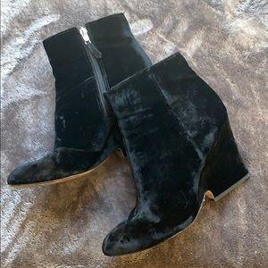 Sam Edelman black suede wedge booties